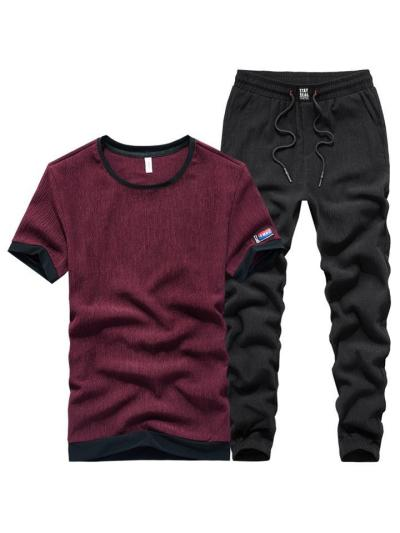 Breathable Lightweight Casual Jogging Short Sleeved T-Shirts+Pants