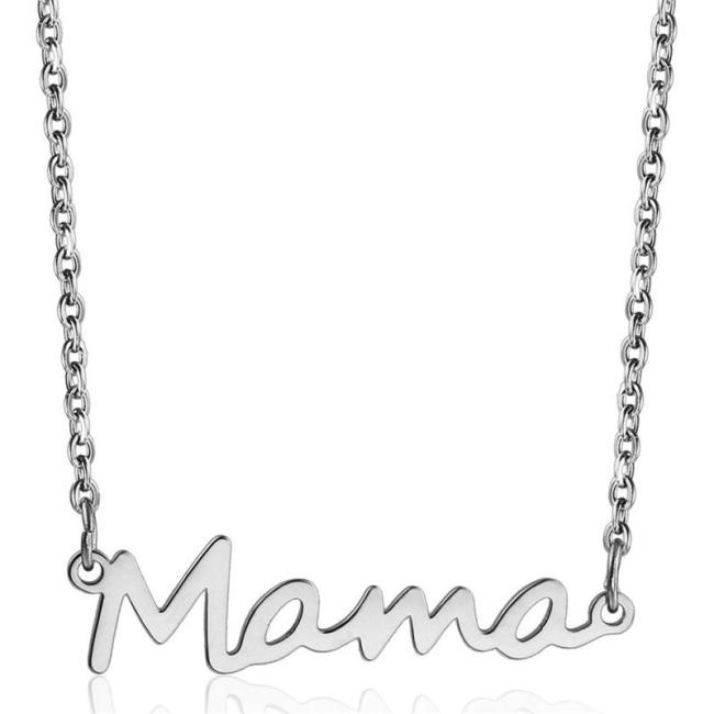 Mother's Day Gift Mama Lettering Pendant Chain Link Style Necklace Birthday Chain