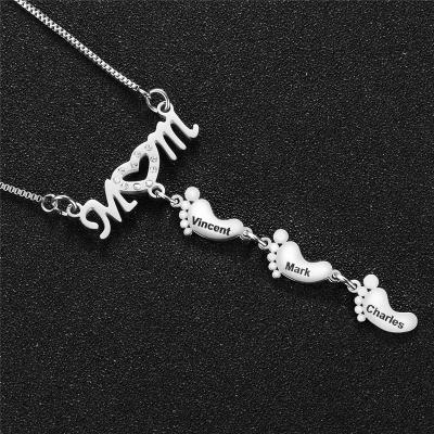 Mother's Day Gift Little Feet Pendant Rhinestone Embellished Necklace
