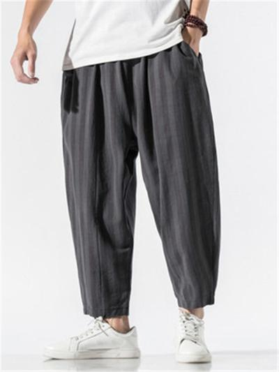 Contrast Color Stripe Casual Baggy Harem Pants
