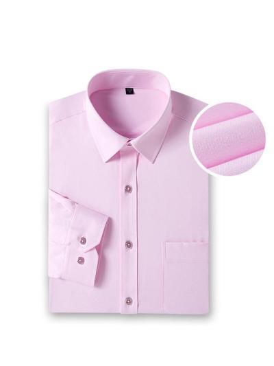 Elastane Slim Fit Pure Color Plain Long Sleeve Shirtts