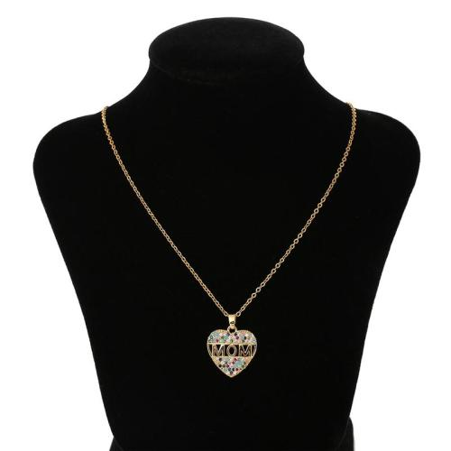 Mother's Day Gift Multicolor Rhinestone Embellished Heart-Shaped Pendant Necklace