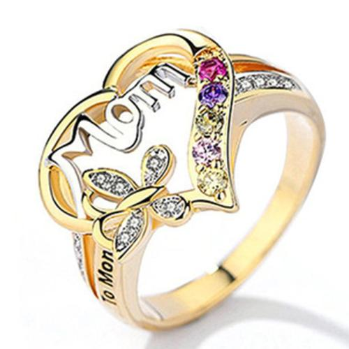 Mother's Day Gift Mom Lettering Heart Pendant Multicolor Rhinestone Embellished Ring