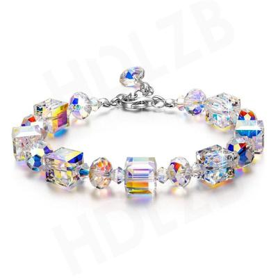 Mother's Day Gift Sterling Silver Multicolor Beaded Lobster Claw Fastening Sleek Bracelet