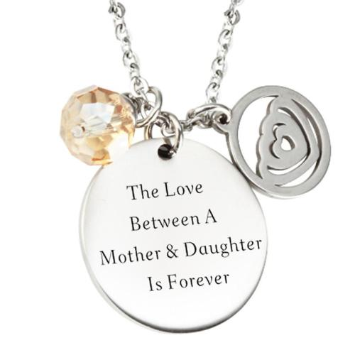 Mother's Day Gift Eye-Catching Lettering Circular Heart Pendant Necklace Birthday Chain