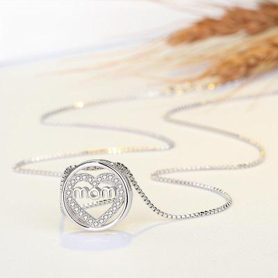 Mother's Day Gift Mom Lettering Circular Heart Pendant Rhinestone Embellished Chain Necklace