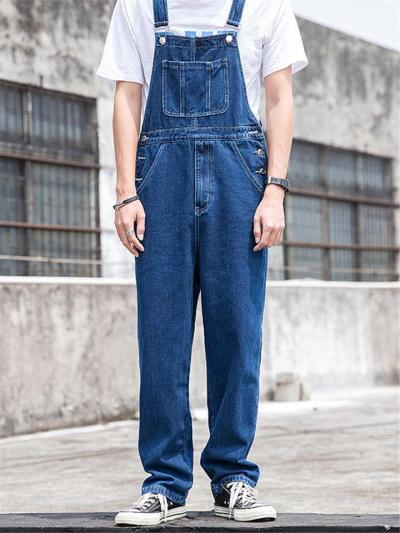 Loose Straight Button Denim Cargo Jumpsuits WIth Pockets