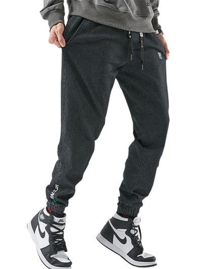 Mens Hip Hop Fashion Elastane Harem Denim Ankle Pants