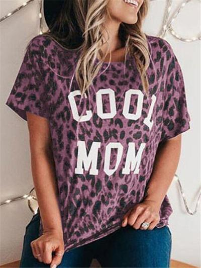 Mother's Day Gift Fashion Leapard Print Comfy Short Sleeve T-Shirts