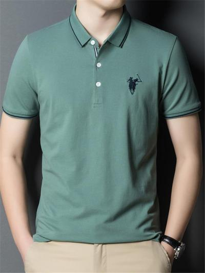 Regular Fit Front Button Fastening Classic Collar Contrasting Trim Straight Hem Polo Shirt
