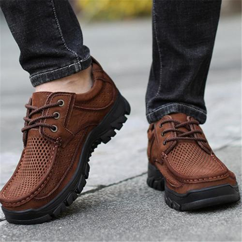 Outdoor Casual Wearable Non Slip Hollow Out Leather Shoes