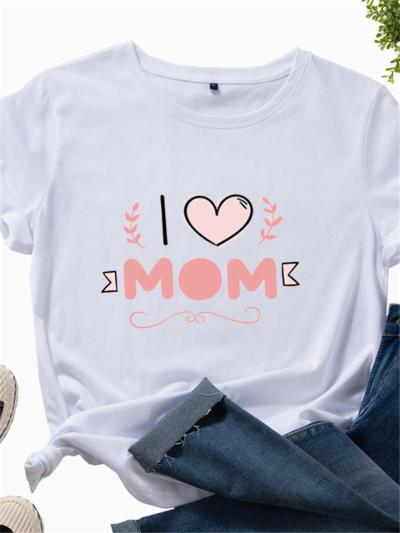 Mother's Day Gift Comfy Letter Print Cotton Short Sleeve T-Shirts
