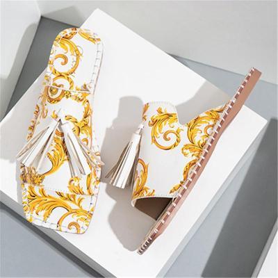 Soft Tassel Upper Design Stitch Detailing Square Toe Flat Sole Slippers