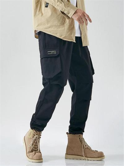 Tapered Design Drawstring Elasticated Waistband Linen Ankle-Length Cargo Pants
