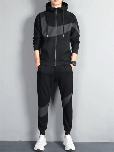 Casual Tracksuit Set Full Zipper Hooded Sweatshirt + Ribbed Cuff Design Sweatpants