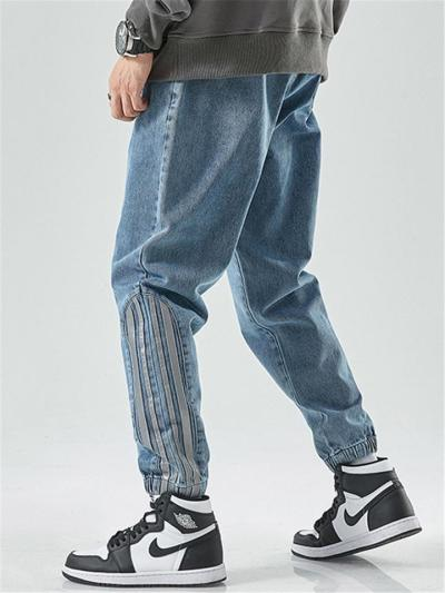 Tapered Fit Casual Elasticated Ankle Drawstring Waistband Side Pocket Jeans