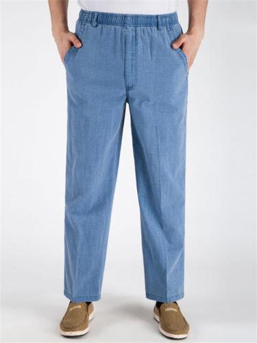 Elasticated Waistband Straight-Leg Multi-Pocket Linen Ankle-Length Lightweight Pants