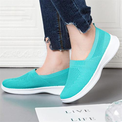 Slip-On Style Breathable Knitted Upper Lightweight Flat Sole Walking Shoes