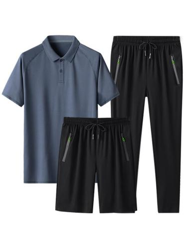 Lightweight Comfy Pure Color Workout Short Sleeved Shirts+Shorts+Pants