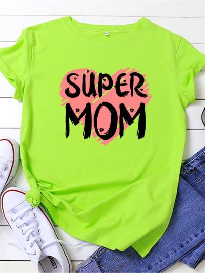 Mother's Day Gift Casual Cotton Print Comfy Round Neck Short Sleeve T-Shirts