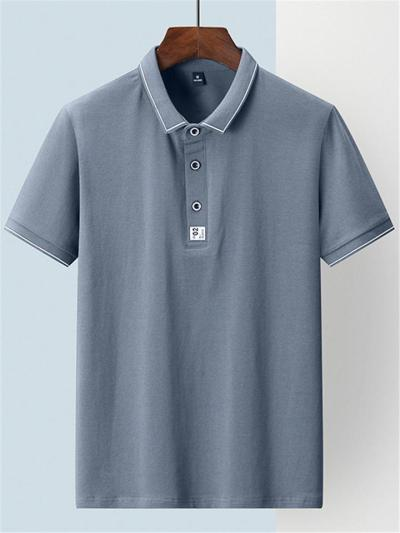 Straight Hem Polo Collar Front Button Fastening Contrasting Trim Tops
