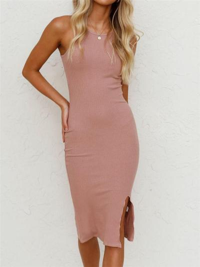 Slim Cut Round Neck Ribbed Design Knitted Front Slit Fitted Tank Dress