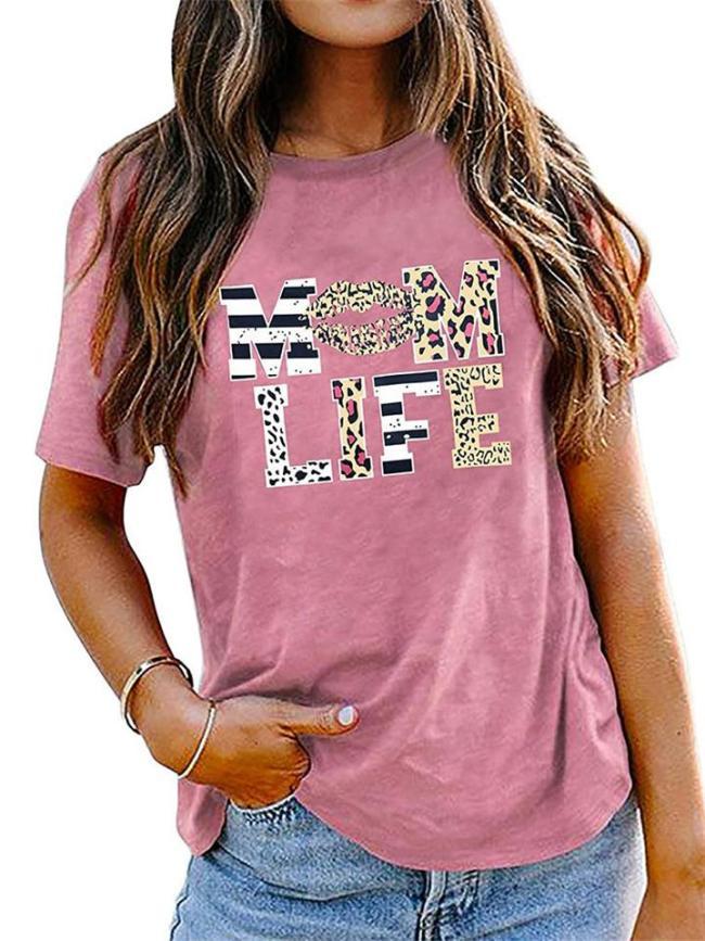 Casual Script Print Comfy O Neck Short Sleeve T-Shirts