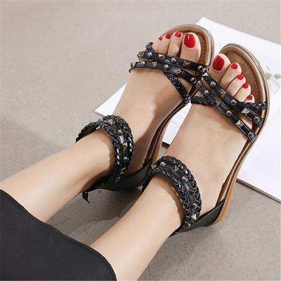 Soft Footbed Rockstud-Embellished Woven-Strap Lightweight Flat Sole Sandals