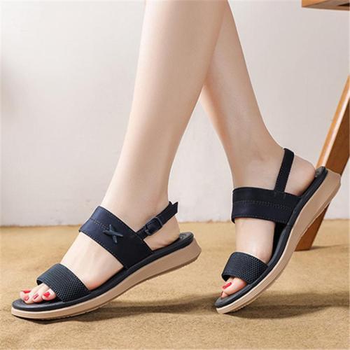 Soft Footbed Slingback Strap Interwoven Upper Flat Sole Buckle Fastening Sandals