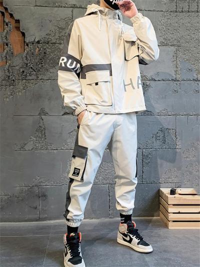 Streetwear Style Multi-Pocket Hooded Jacket + Elastic Cuff Cargo Pants
