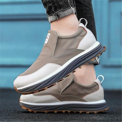 Back Pull-Tab Lace-Up Patchwork Flat Rubber Sole Slip-On Style Breathable Shoes