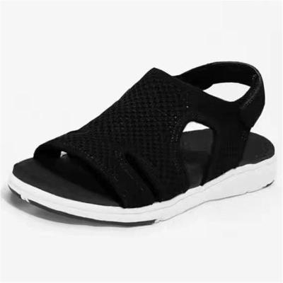Breathable Mesh Upper Side Cutout Detailing Velcro Fastening Flat Rubber Sandals