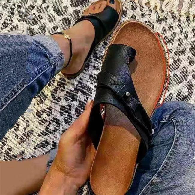 Vintage Style Toe-Ring Ridged Flat Sole Lightweight Sandals Slippers