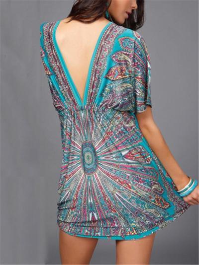 All-Over Print Plunging V Neck Short Sleeve Drawstring Lightweight Mini Dress