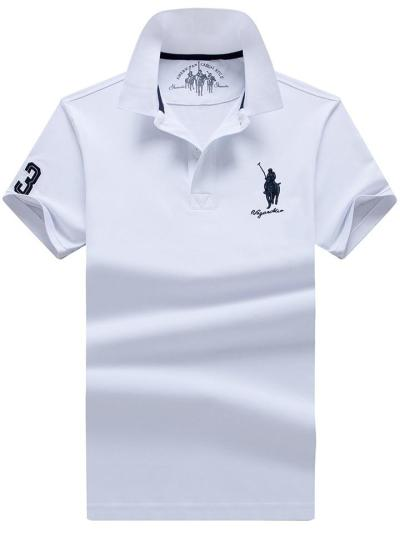 Soft Cotton Relaxed Shape Straight Hem Embroidered Classic Collar Polo Shirt