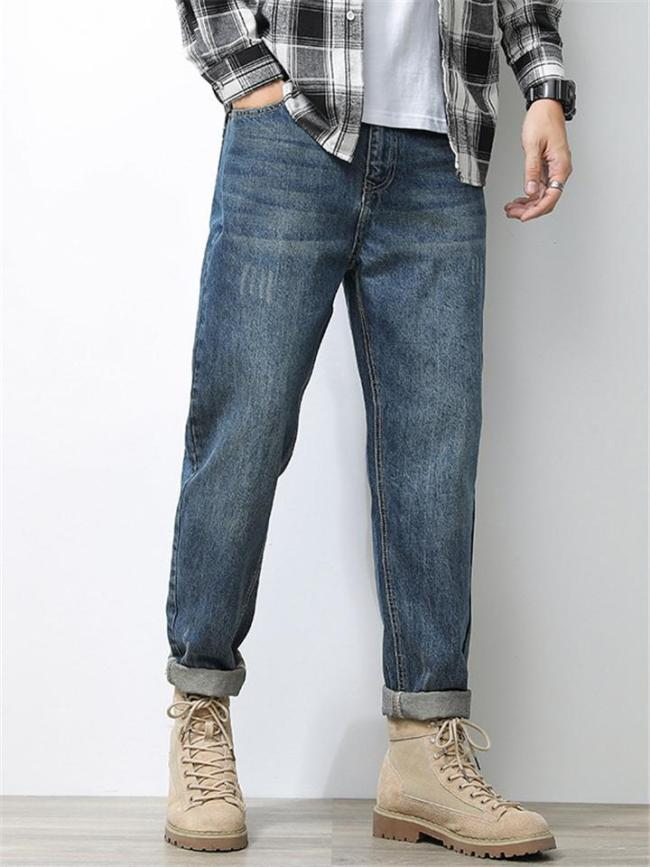 Slim-Cut Stretch Fit Belt Loop Contrasting Stitching Rolled Cuff Washed Jeans
