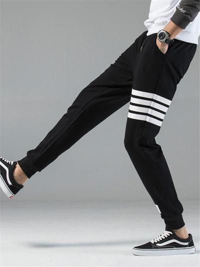 Activewear Elasticated Waistband Drawstring Slip Pocket Contrasting Striped Track Pants