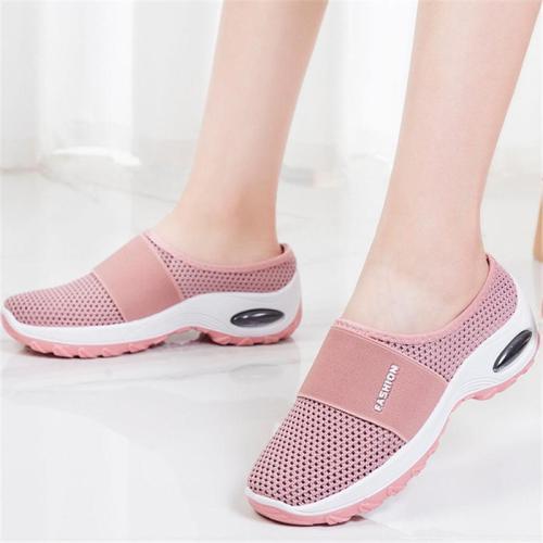 Slip-On Style Open Mesh Upper Rocker Bottom Durable Lightweight Shoes