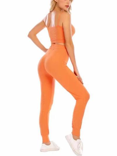 Activewear 2 Piece Set Ribbed Spaghetti Strap Cropped Vest + Drawstring Sweatpants