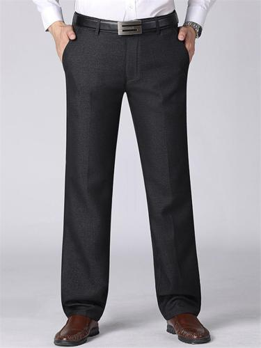 Elastane Soft Warm Lining Pure Color Pants