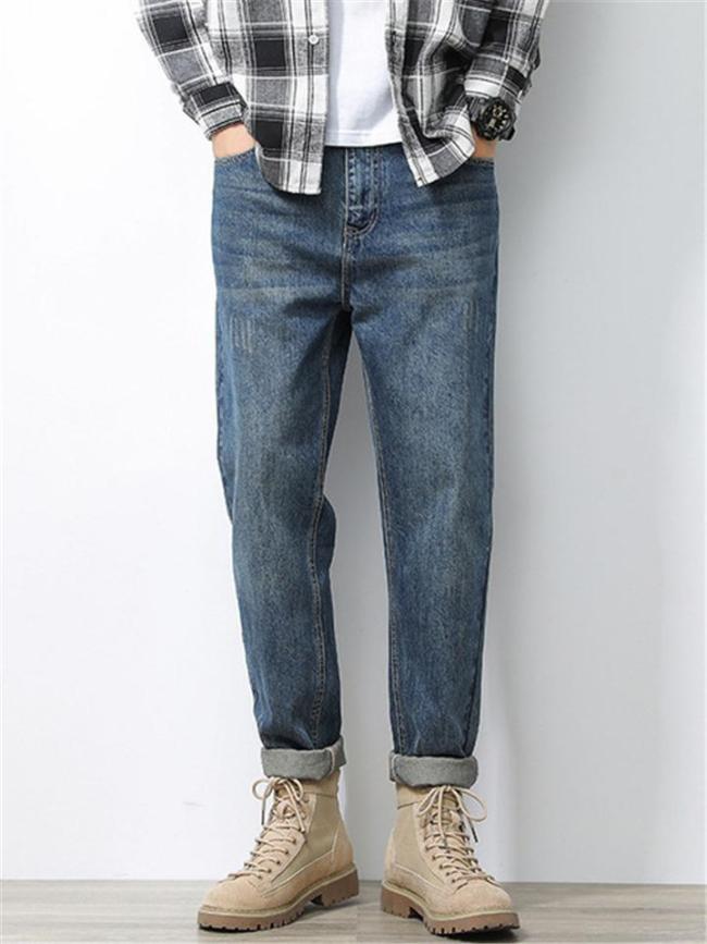 Vintage Loose Casual Straight Denim Trousers