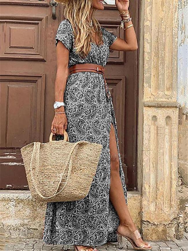 Bohemian Style V Neck All-Over Print Short Sleeve Thigh-High Slit Full-Length Dress