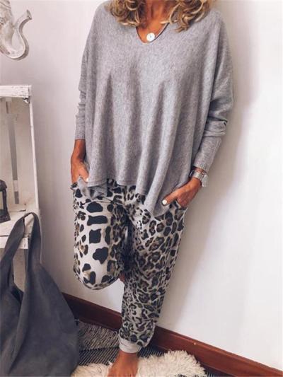 Oversized Style 2 Piece V Neck Long Sleeve Basic Top + Leopard Print Pants