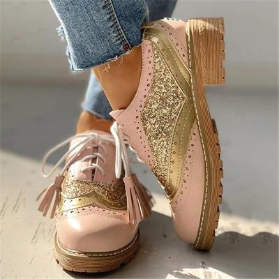 Classic Front Lace-Up Fastening Chunky Sole Low-Top Perforated Detail Shoes