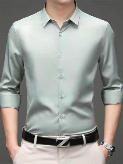 Business Slim Fit Pure Color Plain Long Sleeve Shirts
