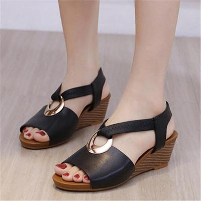 Casual Slingback Strap Striped Wedge Heel Soft Footbed Open-Toe Sandals