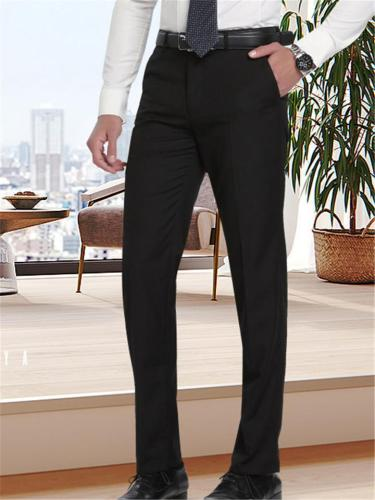Business Straight Slim Fit Pure Color Casual Suit Pants