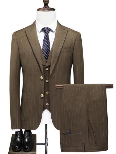 Mens Formal Slim Fit Jacket Vest Pants Set With Two Buttons