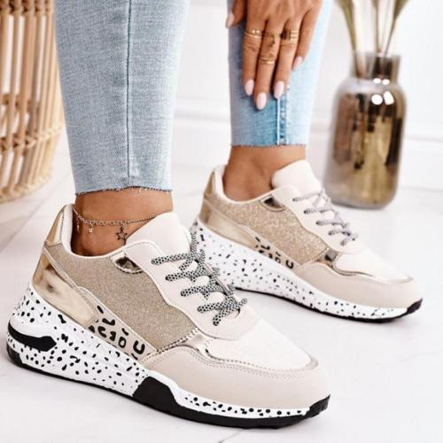 Low-Top Leopard Print Front Lace-Up Fastening Chunky Rubber Sole Sneakers
