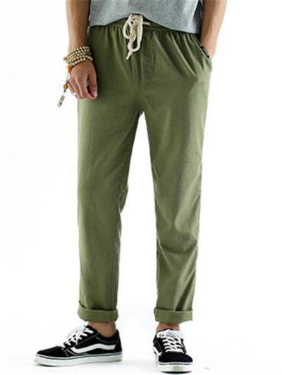 Mens Straight Linen  Loose Drawstring Elastic Waist Pants